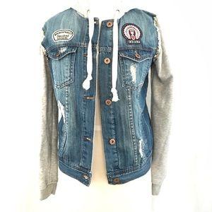F21 Premium Denim Patchwork Hooded Jean Jacket